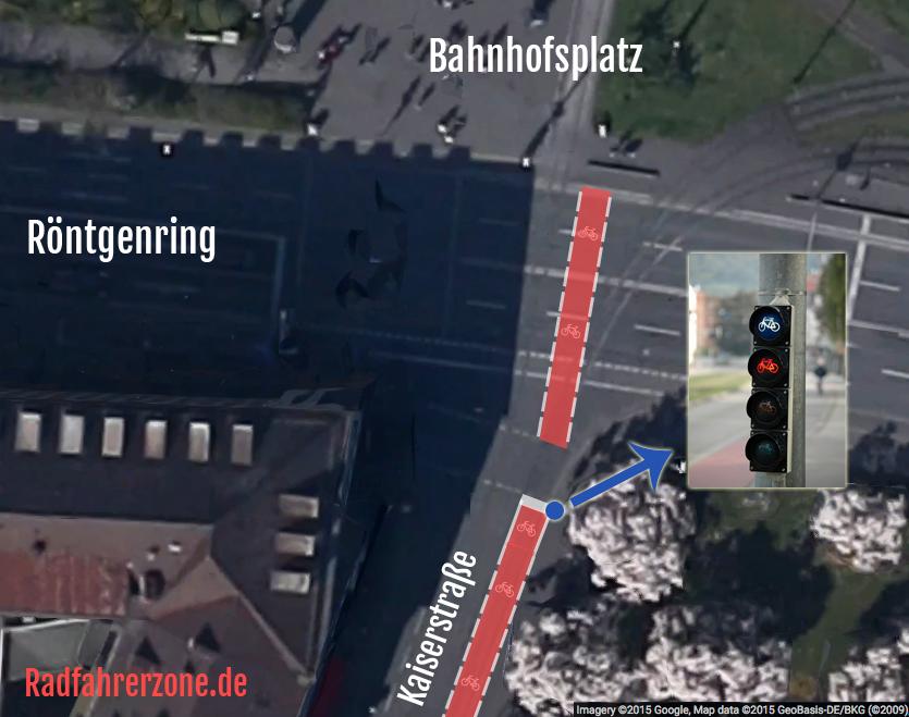 Mögliche Lösung Fußgängerzone Kaiserstraße | Radfahrerzone.de