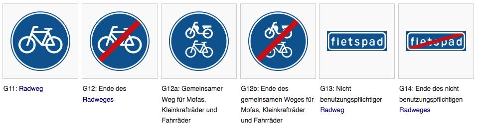 Niederländische Radweg-Schilder | Quelle: Wikipedia
