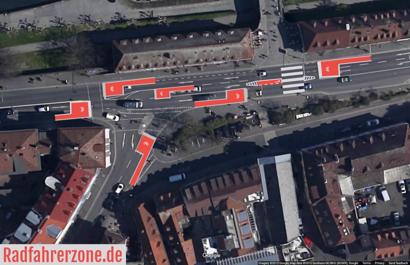 Eine mögliche Lösung für die Kreuzung vor der alten Mainbrücke | Radfahrerzone.de