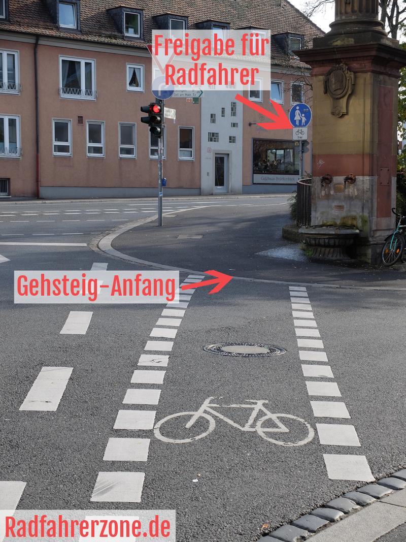Illegale Gehsteig-Führung | Radfahrerzone.de