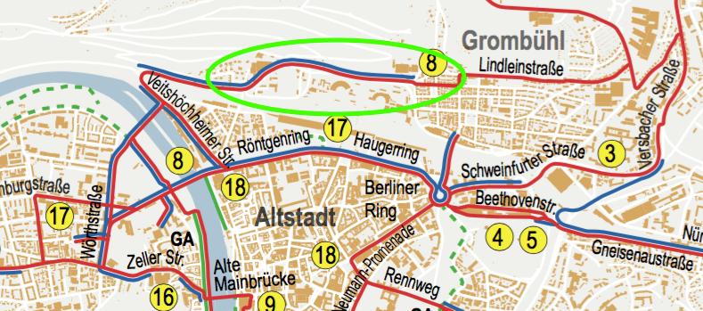 Winter-Radverkehrsrouten der Stadt Würzburg (Auszug)