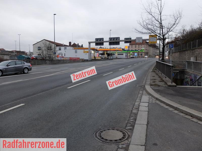 Fahrbahn-Route Europastern Richtung Zentrum | Radfahrerzone.de
