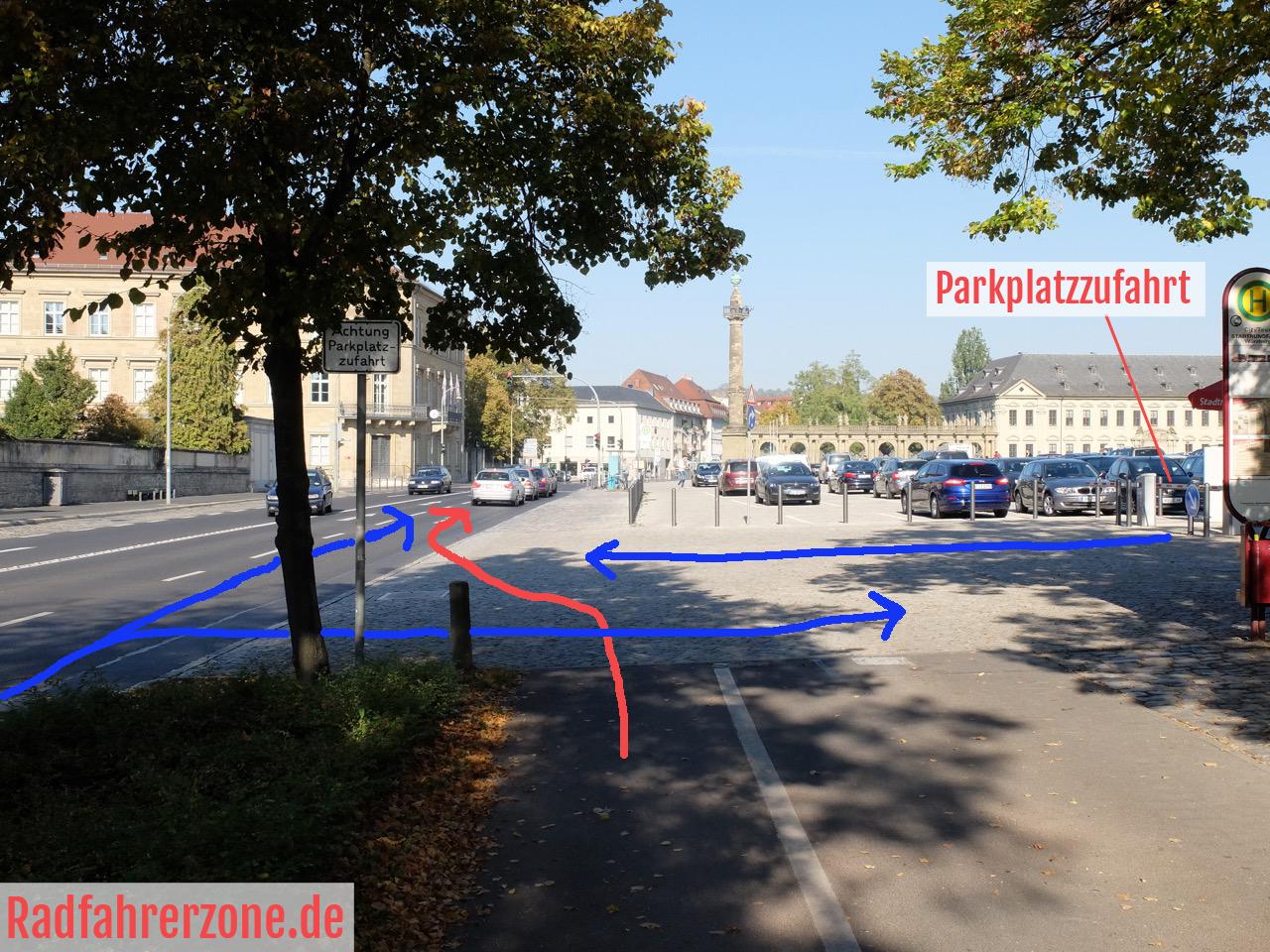 Unfallstelle vor der Würzburger Residenz